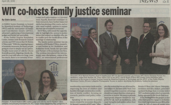 Waterford News and Star article about ARC Mediation and AFCC seminar